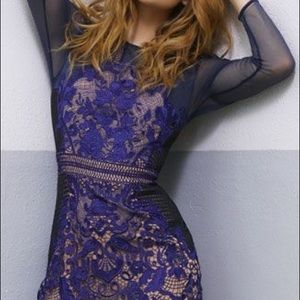 Intricate Navy Lace Panel Dress